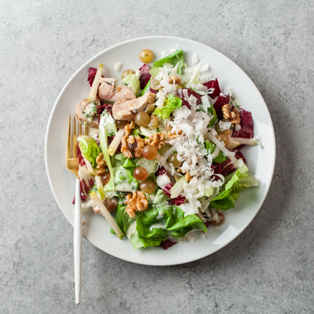Waldorf Salad With Roasted Lemon Chicken Thighs Petes